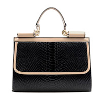 Ou fei bag patent leather crocodile grain PU handbag color ms bump smiling face inclined shoulder bag free of mail delivery