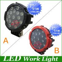 """7."""" 51W Toughened Glass Lens,Spot/Flood beam LED Work Light driving Lamp for SUV Truck Off-road worklight led driving light"""
