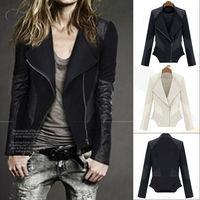 New Womens OL zipper Splicing Slim Fitted Oblique zipper faux Leather Tops lapel Jacket Coat SZ S~XL