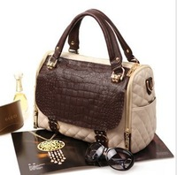 Free shipping fashion retro contrast color quilting cow leather(cover) +composite skin  women leather handbag M0986