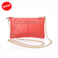 Newest Fashion Candy Colors Clutch Bag Genuine Leather Women Purse Korea Style Casual Wristlet Shoulder Bag with Chains,CN-906