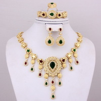 Dubai Hot Selling Green/Red Rhinestone 14K Gold Necklace Muslim Allah Gold Plated Jewelry Set For Women Bride