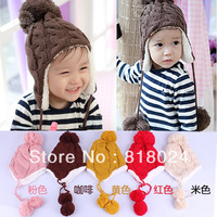 Retail Free Shipping 5 colors 2013 Autunm Winter Children Knitted Hats Winter crochet warm Hat with villi inner Kids Earflap Cap