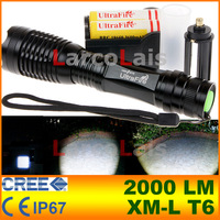 UltraFire 12W 2000 Lm Lumens CREE XM-L T6 Focus Adjust Zoom Led Mini Flashlight Torch 18650 Li-ion or AAA Battery with Charger