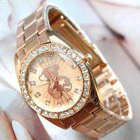 10 Pcs/Lot,2014 New Hot Sale Fashion Women Stainless Steel Wrist Watch, Lady Rhinestone Crystal Gift Watches,Free Shipping
