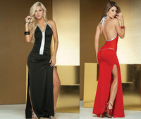 Black Red Backless Scrunch Bodice Contrast Metallic Centerline Accent Halter Neck 2 Sides Slits Women Long Gown Sexy Clubwear