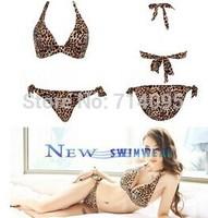Free shipping New swimwear leopard women victoria style swimsuit bikini push up bathing suit women biquini set,free shipping