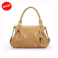2014 New Fashion Apricot Women Retro Tassel Genuine Leather Handbags,Casual Tote+Shoulder+Crossbody Dumpling Type Bag,Q0321