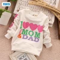4pc/lot 2015 spring autumn i love mom dad baby shirts boys long sleeve shirts girl clothes kids wholesale clothes PANYA TM02