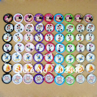 New Arrivals! Free Shipping 96 pcs Two-side Colored Flatten Bottle Caps With Cartoon Image Epoxy Domes