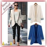 New spring2014women blazer  vintage fashion casual plus size blazers suit for women jacket, blue, white blazer