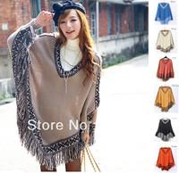 2014  New Fashion Women Batwing Sleeve Tassels Hem Style Cloak Poncho Cape V-neck Sweater Coat