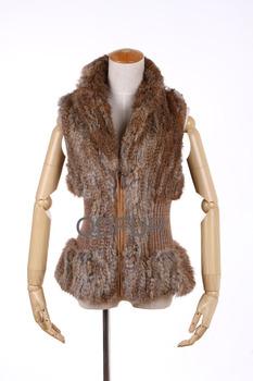 Autumn Winter Ladies' Fashion Genuine Knitted Rabbit Fur Vest Women Fur Charm Waistcoat Female Gilet Sweater Vest QD27854