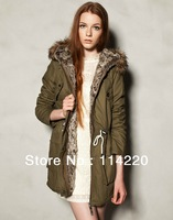 Fashion women winter Cotton Padded coat Womens Warm Hooded Military Army Green Oversized Jacket Down Parka