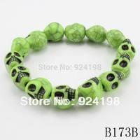 Minimum order $10 cheap price fashion classic mix colors skull bracelets for men 2014 free shipping
