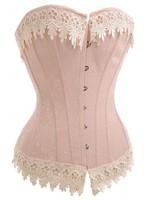 Sexy lace up boned Burlesque Beige Lace Trim Tassel Corset Busiter Basque lingerie underwear Plus size S~6XL 4127