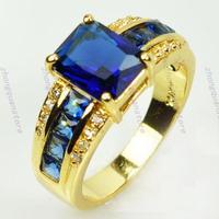 Jewelry Brand new sapphire men's 14KT yellow gold plated  Ring sz10 Zircon ring