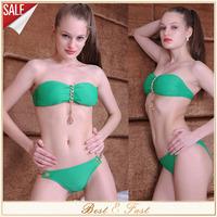 2014 High Quality Sexy Womens Girl's Halter Bra Set Metal Pendant Swimwear Strapless Padded Green Bikini Vintage maillot de bain