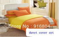 Free Shipping!! Popular King / Queen/ Twin Size Orange Color Microfiber Material 4 Pieces Duvet Cover Set