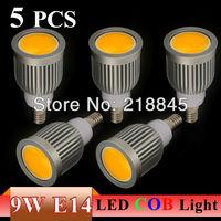 5PCS/LOT Energy saving 9W/7W E14 COB LED Ceiling light/down light  Cool/Warm White 550-650LM COB Spotlight bulb free shipping