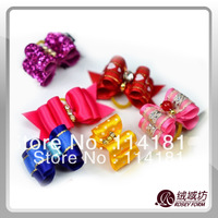 Free Shipping Wholesale Mix Color Pet Dog Headdress Flower Bow for hair Accessories Cute Gift 20pcs/lot