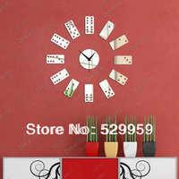 free shipping  cards wall mirror clock silver and black bedroom decor wall clocks 12card Z034