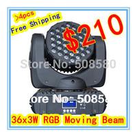 4pcs/Lot, 36 pcs x 3W RGB LED Moving Head Beam Light Moving head wash stage lighting