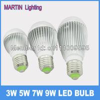 New design E27 3w 5w 7w 9w Cree led energy saving light bulbs silver smd high power globe bulb