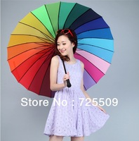 Free Shipping High Quality 24K Straight Rainbow Umbrellas 	Chinas Rain Women