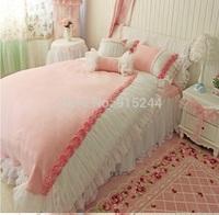 Luxury  Palace pink rose flower Lace Bedding 4pcs sets princess WEDDING white warm winter velvet bedskirt duvet cover pillow