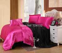 New arrival 4pcs Imitation silk bedding set  bed linen bedclothes bed sheet duvet cover textile printed black Queen&King size CP