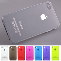 0.5mm Ultra Thin Slim Transparent Clear Matte Frosted Hard Plastic Case Cover for iPhone 4 4S Wholesale 20pcs/lot