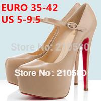 New Arrival Fashion Brand Single Shoes Woman Thin Heels Platform Pumps black/beige