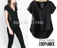 2014 new ZR Exotic amorous feelings sky bohemia for women summer black  vintage lace chiffon blouse fashion designer