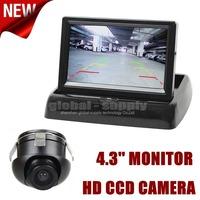 4.3 Inch Car Reversing Camera Kit  Back Up Car Monitor LCD Display + Ccd Rear View Camera Back Up Cam Free Shipping