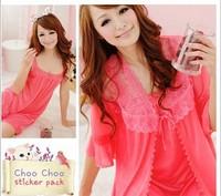 Women Lady Sexy Nightgown Temptation Female Lace Sleepwear Silk Nightwear Twinset Pajamas Set Plus Size