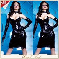 2014 Black Sexy PVC Leather Corset Gothic Overbust Steampunk Corset Dress Sexy Lingerie Corpete Corselet Bustier Plus Size 2XL