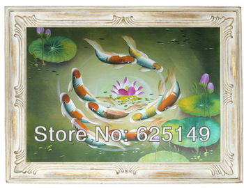 A new and realistic animal the goldfish and cicada handmade oil painting, painting portraits and small batch to support custom
