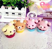 Free Shipping!!!NEW Cute San-x Rilakkuma Icecream Cupcake Squishy Charm/Key Chain /Wholesales