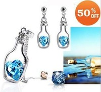 18K white gold plated adrift - bottle austria crystal women fashion earrings/necklace Jewelry Sets FREE SHIPPING