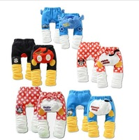 Retail, 1 piece! Autumn and winter child trousers cartoon style baby pp pants thickening baby trousers