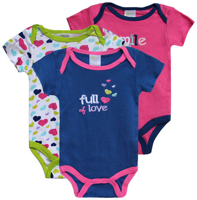 3pcs 2014 summer 100% cotton Baby Sayings Short Sleeve Rompers baby jumpsuit ,Baby girls clothing 0-3,3-6,6-9,9-12months(China (Mainland))