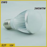Free shipping (10pieces/lot)led bulb lamp e27 12v 3W/4W/5W/6W/7W 12v LED Light Bulb Lamp white/warm white AC/DC12V wholesale