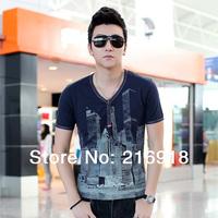 2014 summer fashion men clothing V-neck button casual shirt short-sleeve shirt print 100% cotton male t-shirt