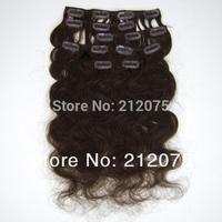 "Beautiful Brazilian Virgin Hair *Body wave Clip in human hair Extensions *7pcs/set*12-30""inches"