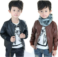 2014 retail baby boys leather jacket kids thick fleece/ boys outerwear coats and jackets for children black TT91 free shipping