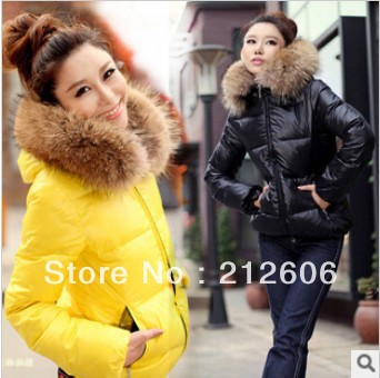 2013 New Fashion Candy Color Slim Thickening Fur Collar Female Short Design Wadded Jacket Womens Cotton-Padded Jacket Outerwear