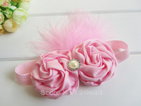 Free Shipping 40pcs/LOT Turkey feather Plus Rolled Fabric Rosette Flower Roses with diamond Baby Hair accessories