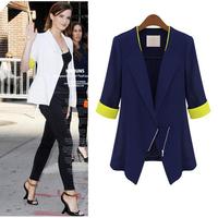 2014Hot Sale Women Casual za Blazer Foldable Brand Suit Jacket Clothes Suit Shawl Blue Cardigan White Coat  ZipperPlus Size nz36