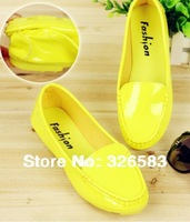 2014  New Arrival Women's Loafers Shoes Paint Leather Cow Muscle Outsole Sandals Single Shoes Flat Heel Pink White, Yellow
